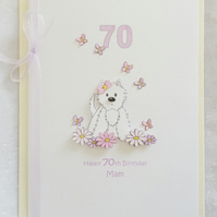 Flower Westie A5 Personalised Birthday Card - Pink & Lilac