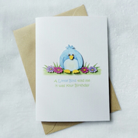 Birthday Card - Little Blue Bird