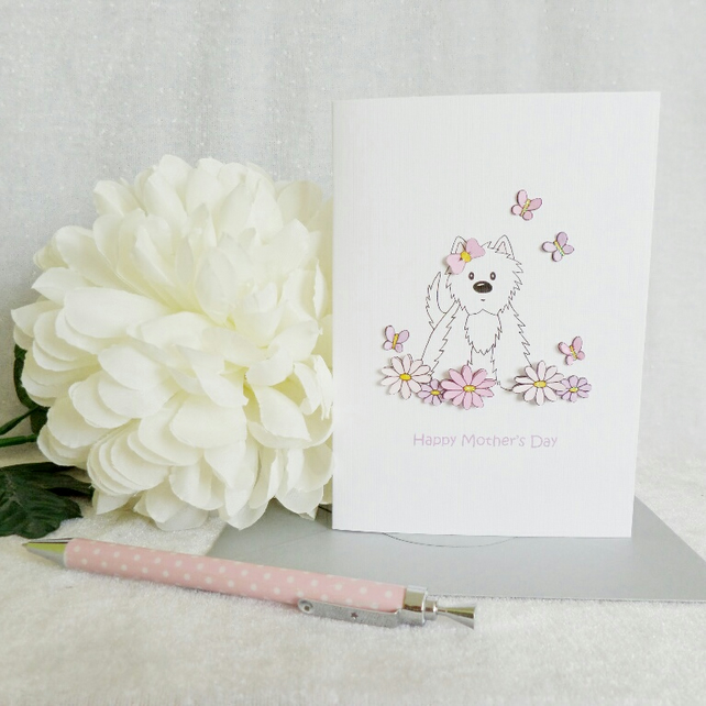 Mother's Day Card - Flower Westie
