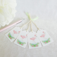 Flamingo Gift Tags - set of 4 tags
