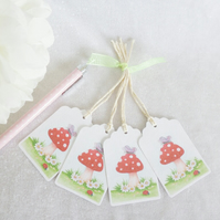 Toadstool Gift Tags - set of 4 tags