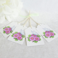 Blue Butterfly & Daisy Gift Tags - set of 4 tags