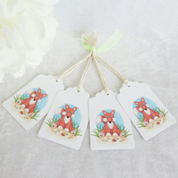 Mr Fox Gift Tags - set of 4 tags