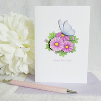 Blue Butterfly & Daisy Birthday Card
