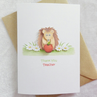 Little Hedgehog Thank You Teacher Card