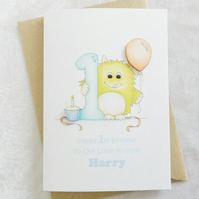 Little Monster Personalised 1st Birthday Card