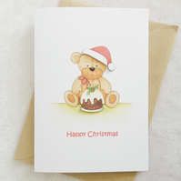 Christmas Card - Christmas Pudding Bear