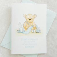 New Baby Boy Bear Card