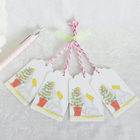 Christmas Tree Ellie Gift Tags - set of 4 tags