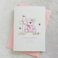 Christening Pink Bear & Cross Card - Girl