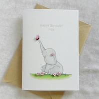 Personalised Flutterby 'Ellie' Birthday Card