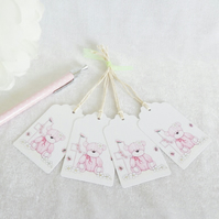 Christening Pink Bear & Cross Gift Tags - set of 4 tags