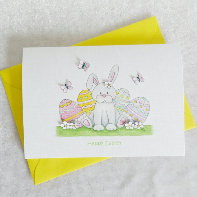 Happy Easter Bunny Card - Girl