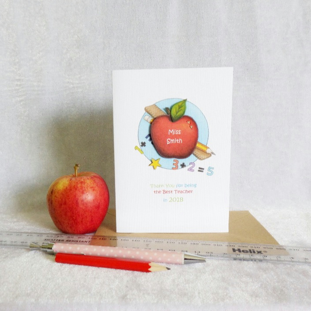 Thank You Teacher - Personalised Apple