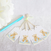 New Baby Boy Bear Gift Tags - set of 4 tags