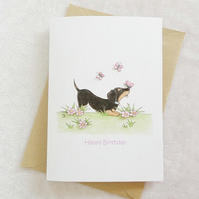 Dachshund Dog & Butterfly Birthday Card