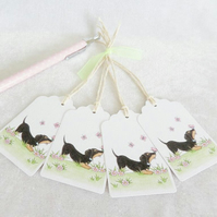 Dachshund Dog & Butterfly Gift Tags - set of 4 tags