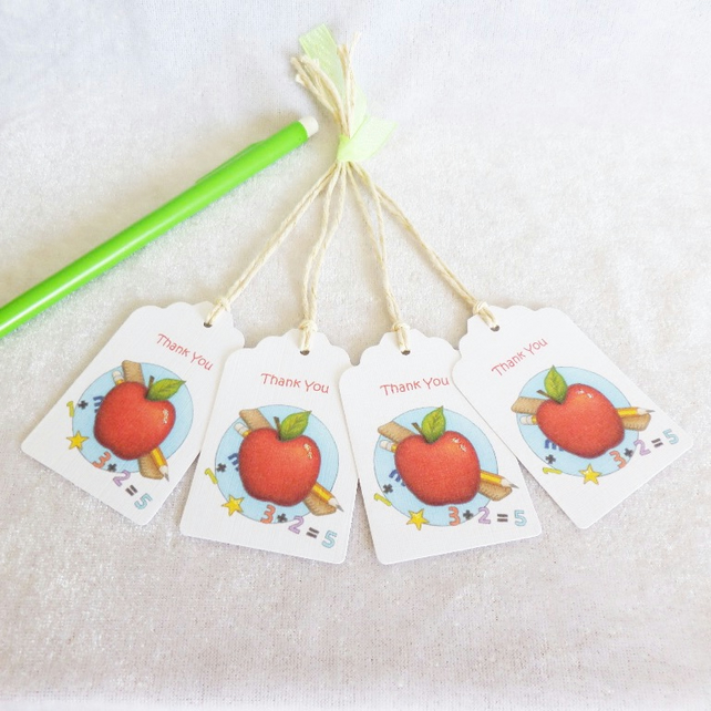 Thank You Teacher Gift Tags - set of 4 tags