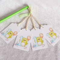 1st Birthday Little Monster Gift Tags - set of 4 tags