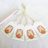 Thank You Teacher Little Hedgehog Gift Tags - set of 4 gift tags