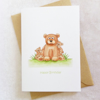 Daddy Bear with Cubs Birthday Card