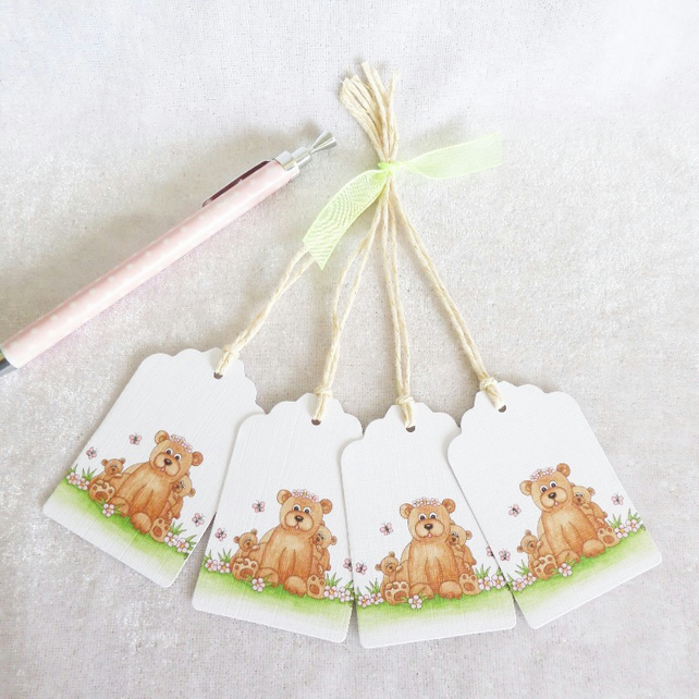 Mammy Bear Gift Tags - set of 4 tags
