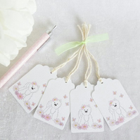 Flower Westie Gift Tags - set of 4 tags