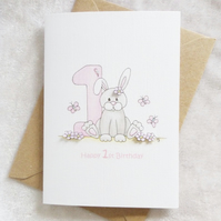 1st Birthday Card - Bunny Rabbit