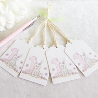 Bunny 1st Birthday Gift Tags - set of 4 tags