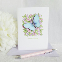 Little Flowers & Blue Butterfly Birthday Card