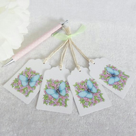 Little Flowers & Blue Butterfly Gift Tags - set of 4 tags
