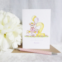 2nd Birthday Card - Ballerina Mouse