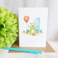 Baby Dragon Personalised 1st Birthday Card