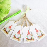 Painting 'Norm' the Garden Gnome Gift Tags - set of 4 tags