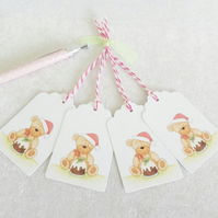 Christmas Pudding Bear Gift Tags - set of 4 gift tags