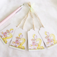 Ballerina Mouse 2nd Birthday Gift Tags - set of 4 tags