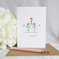 To the One I Love at Christmas - Little Blue Love Birds Christmas Card