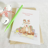 Rudolph Reindeer Christmas Card - Personalised