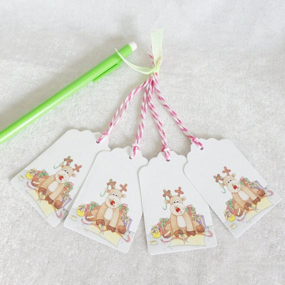 Rudolph Reindeer Christmas Gift Tags - set of 4 gift tags