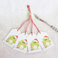 Little Monster Christmas Gift Tags - set of 4 tags
