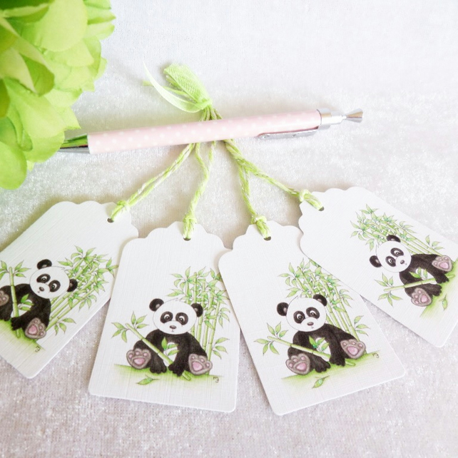 Panda Bear Gift Tags - set of 4 tags