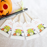 Halloween Little Monster Gift Tags - set of 4 tags