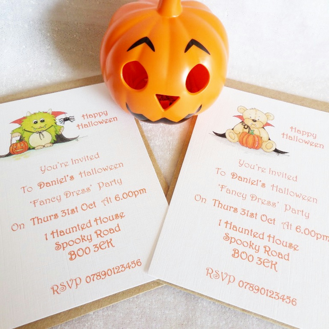 Happy Halloween Personalised Invitations - Dracula Bear or Little Monster