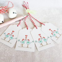 Christmas Love Birds Gift Tags - set of 4 gift tags