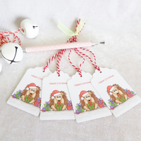 Christmas Hedgehog Gift Tags - set of 4 gift tags