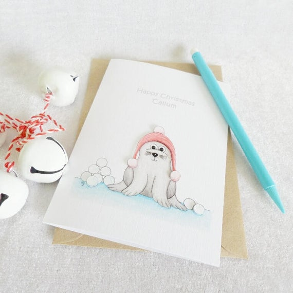Winter Seal Christmas Card
