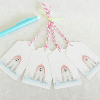 Winter Seal Christmas Gift Tags - set of 4 gift tags