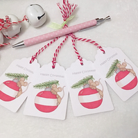 Christmas Bauble Mouse Gift Tags - set of 4 gift tags