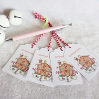 Gingerbread House Christmas Gift Tags - set of 4 gift tags