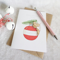 Christmas Bauble Mouse Card - Personalised